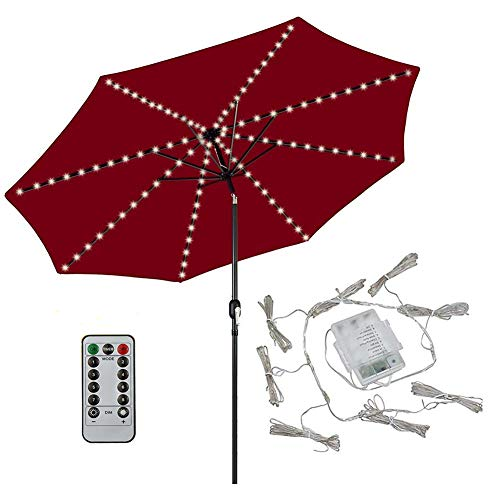 Patio LED Umbrella String Lights,104 LEDs 8 Lighting Mode with Remote Control Umbrella Lights Battery Operated Waterproof Outdoor Lighting for Patio Umbrellas Outdoor Use Camping Tents (Warm White)]()
