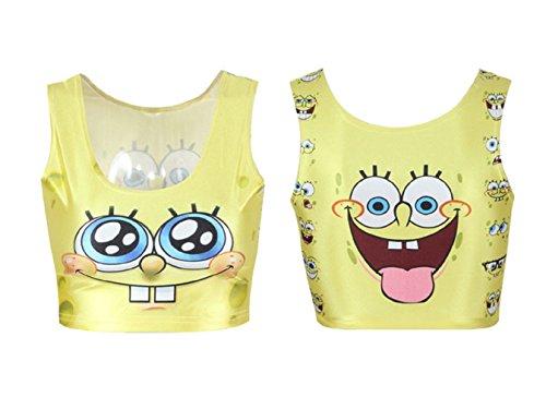 Misomi Women's Cartoons Print Sexy Vest Crop Tops One Size SpongeBob SquarePants