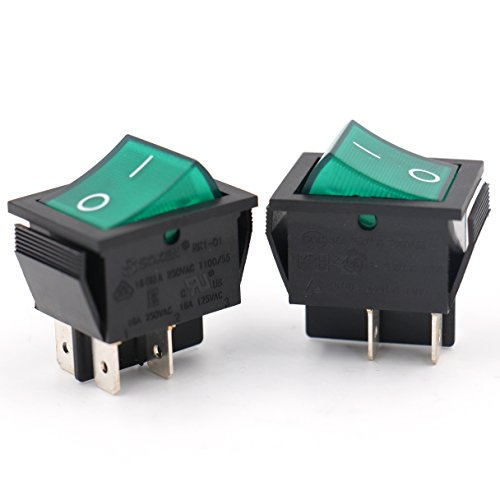 Baomain SOKEN Green Light DPST ON/OFF Snap in Boat Rocker Switch 4 Pin 16A/250V UL TUV list 2 Pack