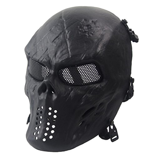 Reaper Costumes Contact Lenses (METFIT Halloween Airsoft Paintball Full Face Skull Skeleton CS Mask Tactical Military (A))