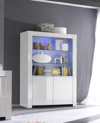 Vitrine Amalfi 2-türig, 123 x 170 x 50 cm, weiß hochglanz