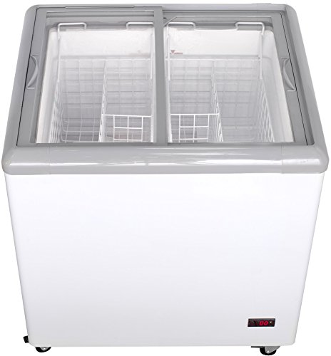 Lid Display Freezer - Chef's Exclusive Commercial Frost Free Sub Zero Mobile Ice Cream Display Chest Freezer 7.5 Cubic Feet Flat Glass Lid Top with Wire Baskets, 31.5 Inch Wide, White