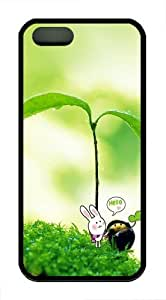 Cute Plant Hello TPU Silicone Case Cover for iPhone 5/5S Black