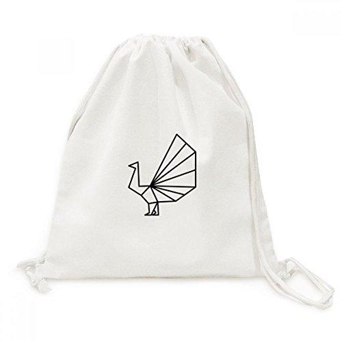 Abstract Origami Peacock Geometric Shape Canvas Drawstring Backpack Travel Shopping (Origami Peacock)