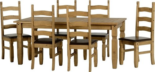 1.83 meters Corona Esstisch mit 6 Stühlen, Braun
