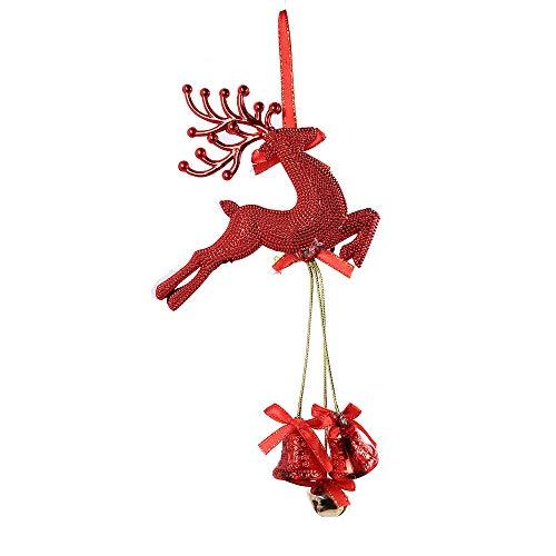 OVERMAL Christmas Door Hangers Bell Hanging Ornaments Wooden Santa Claus Xmas Tree Pendant Decor (Red)