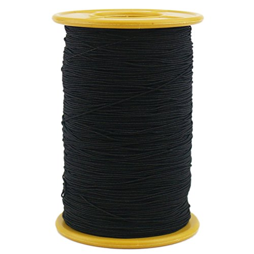Ogrmar White Elastic Thread 547 Yard 0.5mm Thickness (1 Roll) (Black)