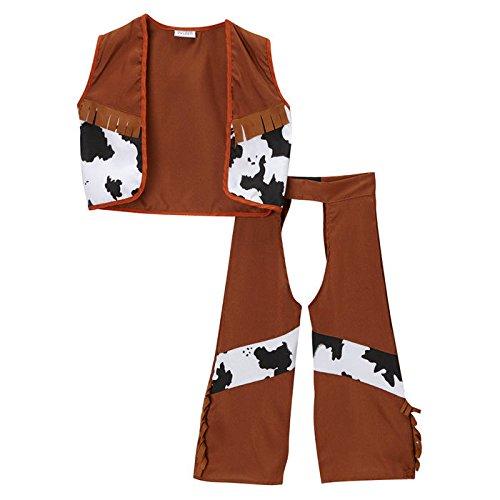 Classic Brown Cowboy Chaps & Vest, Size 4/6