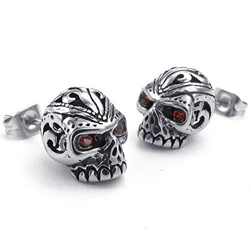 KONOV Mens Cubic Zirconia Stainless Steel Gothic Skull Stud Earrings, Red Silver