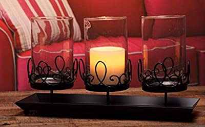 """V-More Vintage Glass Candle Holder with Black Metal Stand 3 Pillar Centerpiece 15"""" L X 5.3"""" W X 7.1""""H For Wedding Party Home Decor (Set of 1)"""