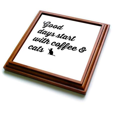 3dRose 3dRose Gabriella B - Quote - Image of Good Days Start With Coffee And Cats Quote - 8x8 Trivet with 6x6 ceramic tile (trv_306272_1) ()
