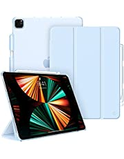 جراب FINTIE نحيف لجهاز iPad Pro 12.9 2021 (الجيل الخامس) مع حامل أقلام - جراب واقٍ رقيق للغاية مع غطاء خلفي شفاف لجهاز iPad Pro 12.9 2021/2020/2018، أزرق