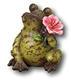 Sweet Smiling Terra Cotta Garden Patio Porch Frog Figurine 7″ (Speckled w Pink Flower)