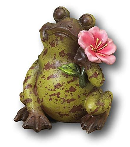 Sweet Smiling Terra Cotta Garden Patio Porch Frog Figurine 7'' (Speckled w Pink Flower) by Gerson