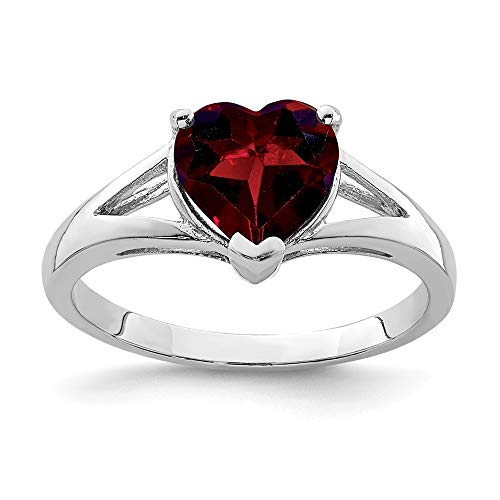 925 Sterling Silver Red Garnet Band Ring Size 6.00 S/love Gemstone Fine Jewelry Gifts For Women For Her ()