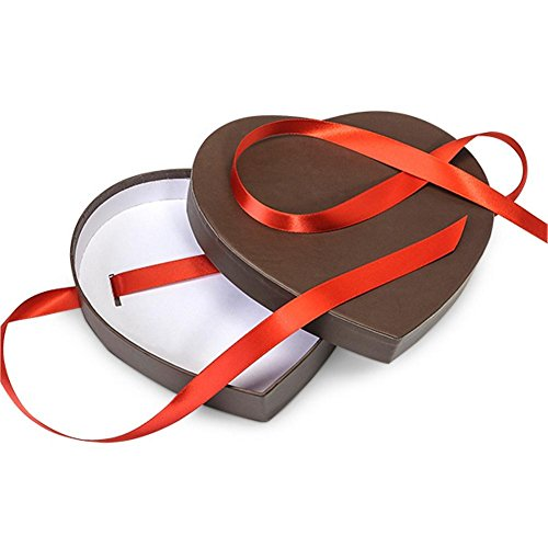 Chocolate Brown Small Matte Heart Shaped Boxes - 6 3/4 x 6 1/8 x 1 1/4in. - 39 Pack by NW