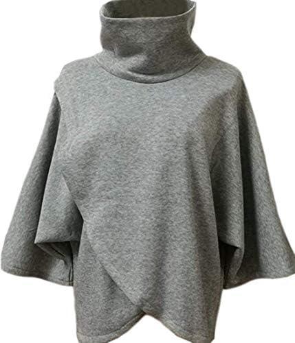女性ウォームハイネックバットウィングスリーブ不規則プルオーバースウェットシャツ Light Grey US Medium