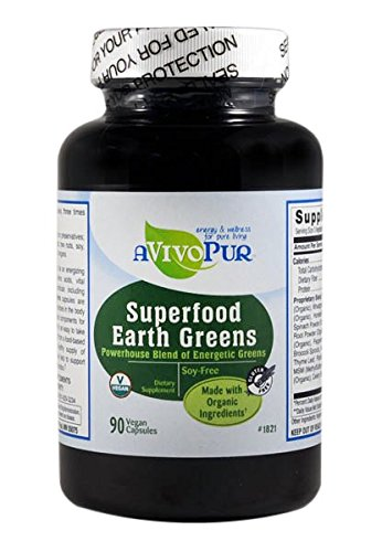 D EARTH GREENS SUPPLEMENTS with MSM. 90 CAPSULES. Athletic green drink, Alkalizing Powder for Amazing All Day Energy, Dynamic Health & Vibrance and weight. Also in Powder (Energy Drink Energizing Lemon Tea)