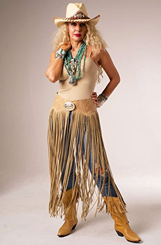 Handmade Exclusive Western Women Wear Cowgirl Dress Tooled Leather Belt with Long Fringe (Scully Costume)