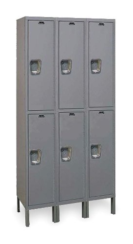 Hallowell UY3888-2-HG Maintenance Free Quiet KD Metal Locker, Unassembled, 3-Wide Grouping, 2 Tier, 36