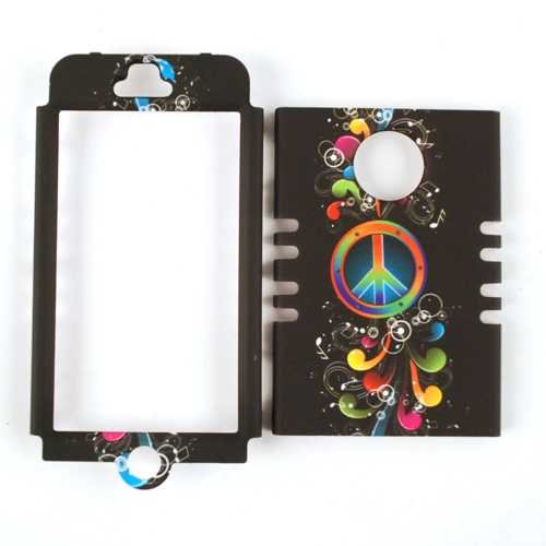 Cell Armor IPHONE4G-RSNAP-TE270 Rocker Snap-On Case for iPhone 4/4S - Retail Packaging - Peace Sign and Music Notes on black