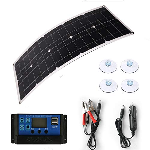 Solar Panel 50W 18V 12V Bendable Flexible, Waterproof Solar Car Battery Charger Maintainer Portable Trickle Charger ,Charging Clip Line for Motorcycle RV Boat with 10A Charge Controller Kits