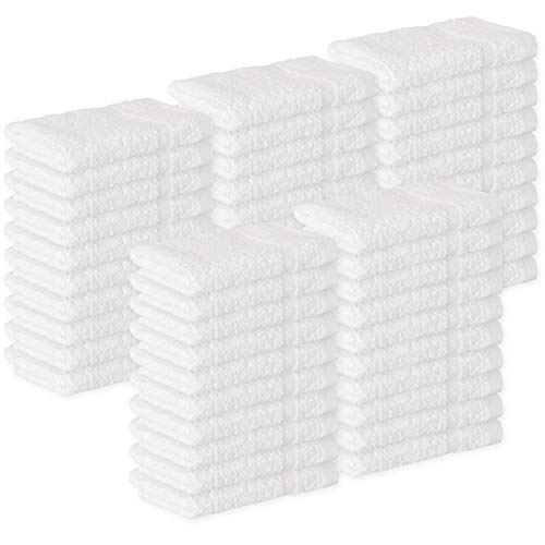 GREEN LIFESTYLE Towels Cotton Washcloths, 50 - Pack, White 100% Cotton 12 x 12 inches