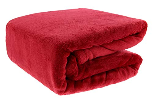 THE FIREFLY COLLECTION Ultra Plush Throw Blanket, 50 x 70 Inches, Red - Use as Your Couch Throw Blanket or Comfy Chair Blanket Throw - A Perfect Fluffy Blanket for Home and Travel