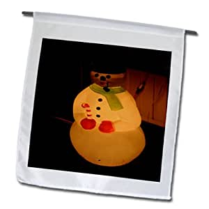 Jos Fauxtographee Holiday - An Illuminated Plastic Snowman With a Pipe and Black Hat in a Yard at Night for Christmas - 18 x 27 inch Garden Flag (fl_52623_2)