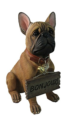 French Bulldog Welcoming Statue For Dog Lovers By DWK   Decorative Pet Bull Dog Outdoor Sculpture Collectible Figurines