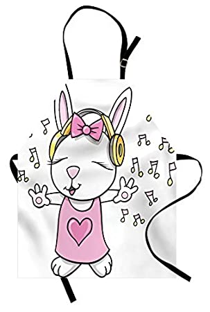hgdsafiga - Delantal infantil con diseño de conejo de estrella de rock con altavoces, notas musicales, dibujos animados ...