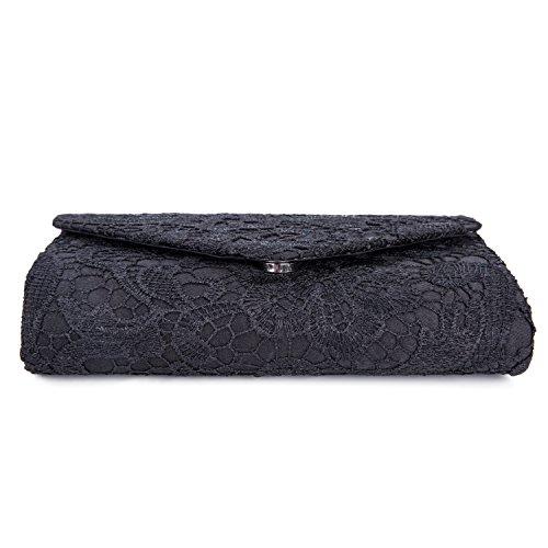 CLOCOLOR Bolso de mano con encaje satén cartera de mano estilo elegante dulce bolso de fiesta para mujer, Albaricoque Negro