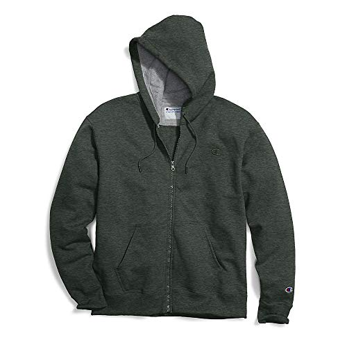 Champion Men's Powerblend Fleece Full-Zip Hoodie, Forest Grove Heather, Medium ()