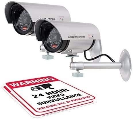 (2 Pack) Dummy Security Camera, Fake Bullet Cctv Surveillance System mit Realistic Look Recording Leds + Bonus Warning Sticker - Indoor/Outdoor Use, für Homes & Business- durch Armo