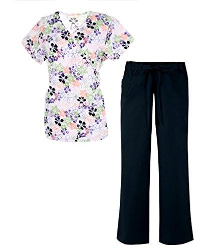 G Med Women's Mock Wrap Back Tie Printed Scrub Fashion Sets(SET-MED,BLKA1-L)