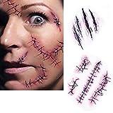 Bezall 10pcs Horror Realistic Fake Bloody Wound Stitch Scar Scab Waterproof Temporary Tattoo Sticker Halloween Masquerade Prank Makeup Props