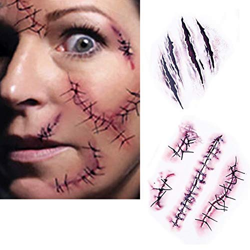 (Dealglad 10pcs Horror Realistic Fake Bloody Wound Stitch Scar Scab Waterproof Temporary Tattoo Sticker Halloween Masquerade Prank Makeup)