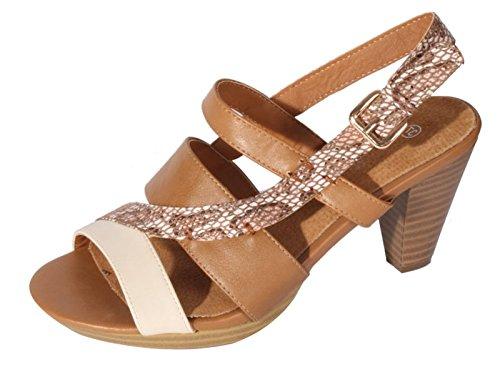 Sandales pour femme Marron Dynamic24 Marron xUZn04wnq