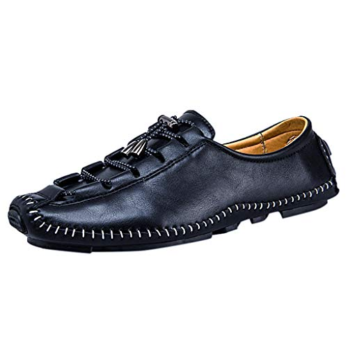 Flat Loafers,ONLY TOP Men's Casual Penny Loafers Breathable Lace-Up Driving Boat Shoes Handmade Dress Shoes Black