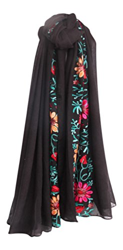 LuluVin Women's Scarf Cotton Embroidered Lightweight Shawl Wrap -