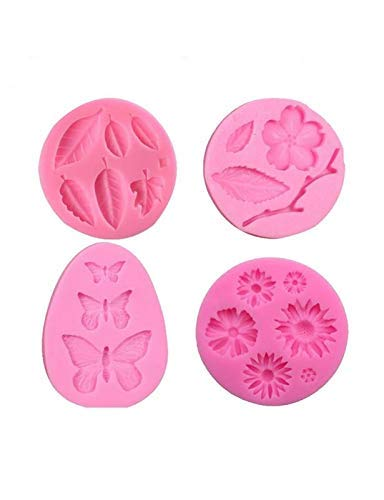 Butterfly Clay Mold - Flower Fondant Mold,Hot Chocolate Mold,Jelly Mold,Cake Decorations Mold,Polymer Clay,Cupcake Topper, Soap Wax Making Crafting Projects All-purpos,4-in-Set Butterfly,Daisy Flower,Leaves and Branch