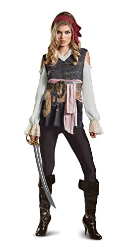 Disney Pirates Caribbean Jack (Disney Women's Plus Size POTC5 Captain Jack Sparrow Female Classic Adult Costume, Brown, Medium)