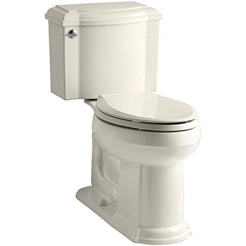 KOHLER K-3837-47 Devonshire Comfort Height Two-Piece Elongated 1.28 gpf Toilet, Almond (Basin 47 Lavatory Devonshire)