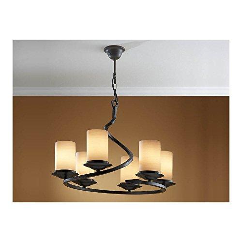 Schuller Spain 616148I4L Traditional Oxide Black Hanging Ceiling Light Pendant 6 Light Dining Room, Living Room, Hallway Opal Glass   ideas4lighting by Schuller