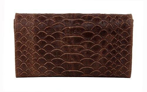 "SLIN GBAG ""Ela V Clutch/bolso/bolso de piel auténtica de aspecto de escamas/Selección de Colores, marrón (gris) - 4251042504797 marrón"
