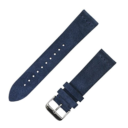Navy Blue Leather Strap - Benchmark Straps Navy Blue Suede Leather Watchband | 18mm, 20mm & 22mm (18mm, Navy Blue)