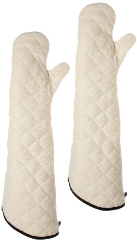 - San Jamar 824TM Heavy Duty Terry Cloth Temperature Protection Oven Mitt, 24