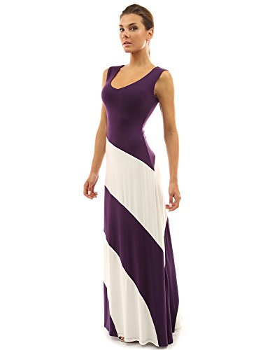 PattyBoutik Women's V Neck Striped Maxi Dress (Purple