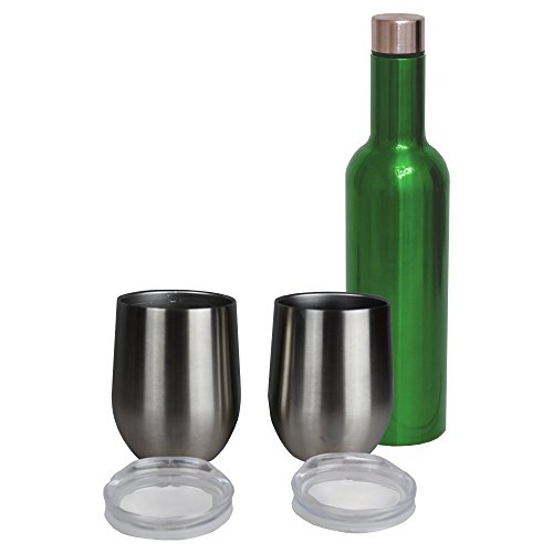 Wine Growler – Stainless Steel Triple Insulated Vacuum Flask Canteen (Green w/SS Tumblers)