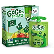 GoGo squeeZ Applesauce on the Go, Apple Apple, 3.2 Ounce (48 Pouches), Gluten Free, Vegan Friendly, Unsweetened Applesauce, Recloseable, BPA Free Pouches (Packaging May Vary)